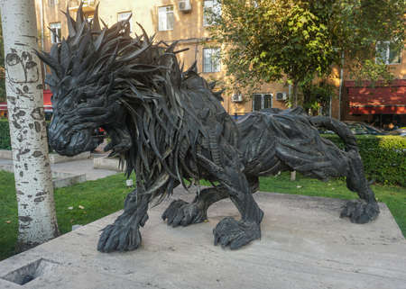 Yerevan Vicious Aggressive Iron Lion with Open Mouth at Cascade Park