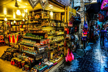 Sidon Souk Souvenir Shop in a Tight Paved Old Town Street