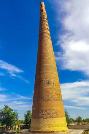 Konye Urgench Kutlug Timur Minaret View with Blue Sky Background