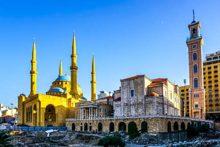 Beirut Saint Georges Maronite Cathedral and Mohammad Al Amin Mosque