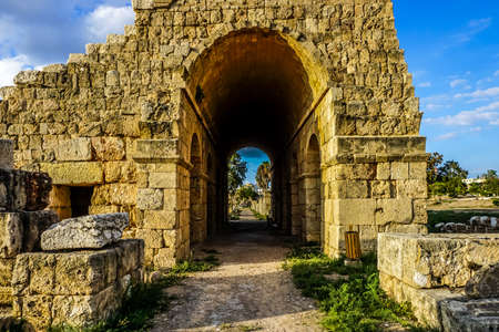 Tyre Hippodrome Ruins and Necropolis with Picturesque Seating Tier Tunnel Фото со стока