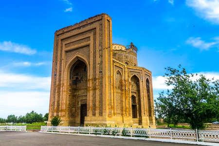 Konye Urgench Turabek Khanum Mausoleum View with Blue Sky Background