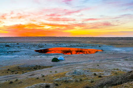 Darvaza Gas Crater Pit Breathtaking Two Tents at Sunrise