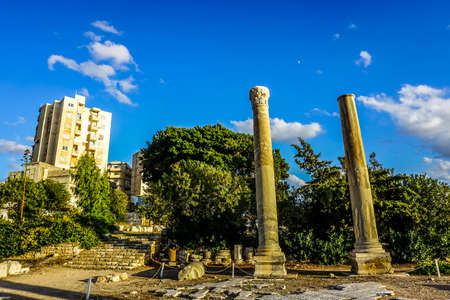 Tyre Ruins Pillars with Blue Sky Background