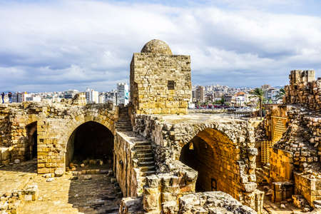 Sidon Crusaders Sea Castle Ruins with Picturesque Watch Tower View 版權商用圖片