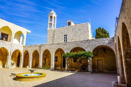 Hamat Our Lady of Noorieh Greek Orthodox Christian Monastery Courtyard Church Stock Photo