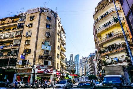Beirut Omar Bin Abdul Aziz Street View of Highrises and Traffic Editöryel