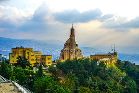 Harissa Our Lady of Lebanon Marian Shrine Pilgrimage Site Saint Paul Basilica at Sunset Banco de Imagens