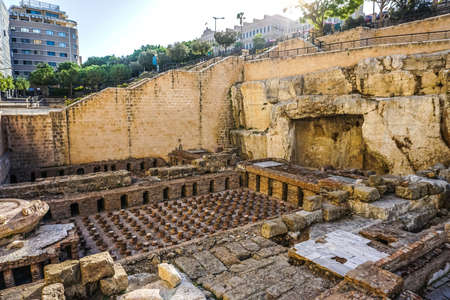 Beirut Roman Baths Site with Stairs and Sun Rays in Background