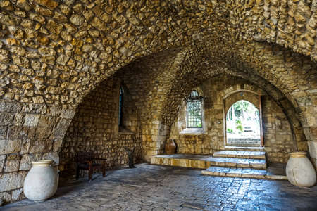 Our Lady of Balamand Greek Orthodox Christian Patriarchal Monastery Passage Tunnel with Jars Stock Photo
