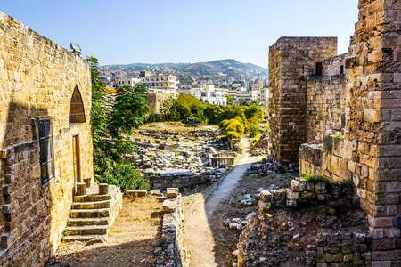 Byblos Crusaders Citadel Surroundings Ruins with City View 版權商用圖片