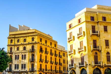 Beirut Yellow Colored Multi Level Buildings at Place De L'Etoile Square Archivio Fotografico