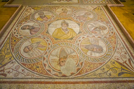 Beirut National Archeological Artifacts Museum Mosaic with Greek Letters