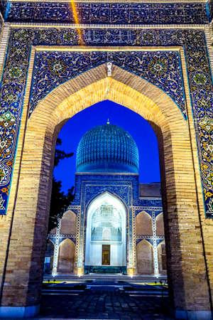 Samarkand Gur-e Amir Complex Mausoleum Main Gate Entrance View Iwan Muqarna Honeycomb and Cupola at Night