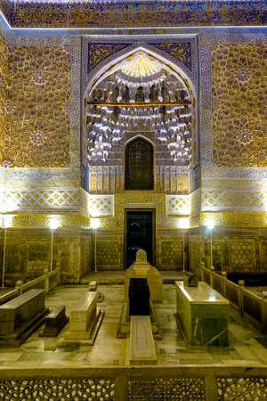 Samarkand Gur-e Amir Complex Mausoleum Illuminated Facade with Muqarna Honeycomb and Tomb of Amir Temur