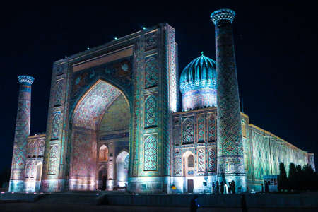 Samarkand Registon Square Ensemble Sherdor Madrasa Side Viewpoint at Night