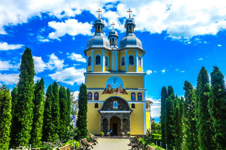 Chernivtsi Holy Ascension Banchensky Monastery Yellow Colored Church Front View