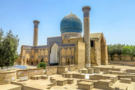 Samarkand Gur-e Amir Complex Mausoleum Side Viewpoint 스톡 콘텐츠