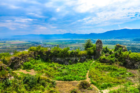 Khust Closeup View of Castle Ruins Wall with Panoramic View of the City Foto de archivo