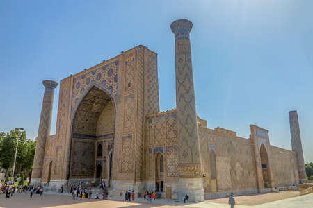 Samarkand Registon Square Ensemble Ulugbek Madrasa Side Viewpoint