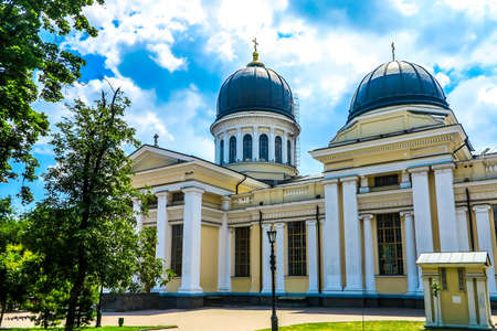 Odessa Spaso Preobrazhensky Cathedral Side View with Cupola and Golden Cross