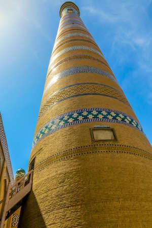 Khiva Old Town Islam Khoja Minaret Low Angle Viewpoint