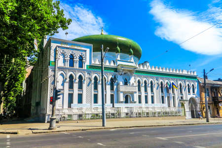 Odessa Al Salam Mosque with Green Colored Cupola Side Frontal View