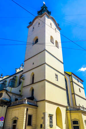 Lviv Latin Cathedral Main Bell Tower Low Angle Viewpoint