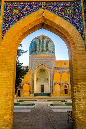 Samarkand Gur-e Amir Complex Mausoleum Main Gate Entrance View Iwan Cupola at Sunset