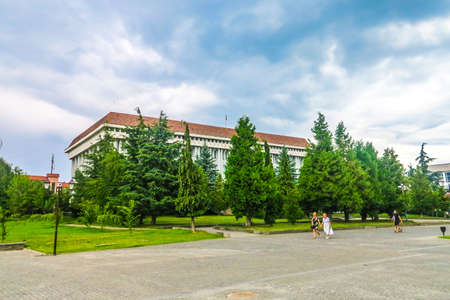 Khust Central District Library Covered by Trees with Waving Ukrainian Flag on Roof