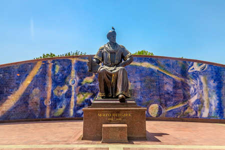 Samarkand Ulugh Beg Observatory Statue Frontal Viewpoint