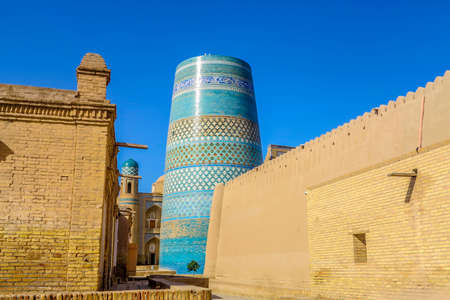 Khiva Old Town Kalta Minor Minaret Side Viewpoint at Sunrise