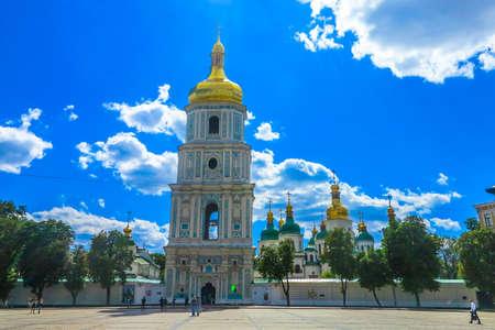 Kiev Sofiyivska Square Bell Tower of Saint Sophias Cathedral Frontal View
