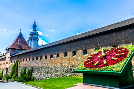 Lviv Hlyniany Fortification Gate Wall with Bernardine Church Monastery Tower and the Flower Clock Stok Fotoğraf