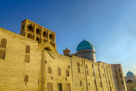 Bukhara Old City Arabian Miri Arab Madrasa Facade Walls Back View