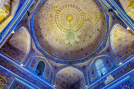 Samarkand Gur-e Amir Complex Mausoleum Ornamented Ceiling and Chandelier