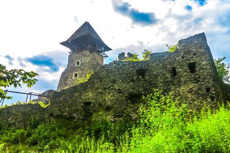 Uzhhorod Nevytsky Castle External Walls Ruins with Watchtower View Stok Fotoğraf