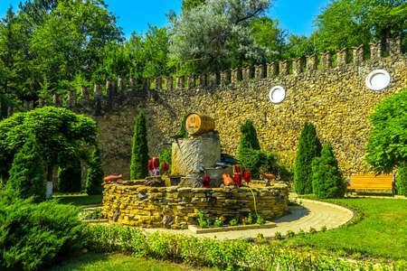 Milestii Mici Winery Wines Industrial Complex Wine Fountain with Wall Background
