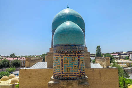 Samarkand Shah-i-Zinda Necropolis Ensemble Two Blue Tiles Cupolas