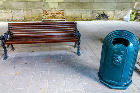 Lviv Public Bench and Creative City Recycle Bin with Metal Lion Relief