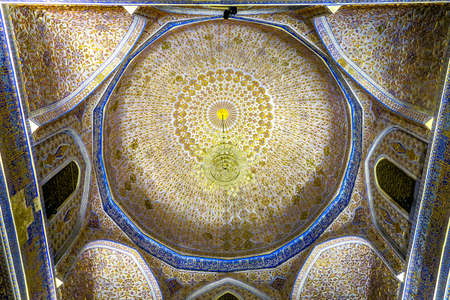 Samarkand Gur-e Amir Complex Mausoleum Ornamented Ceiling with Chandelier