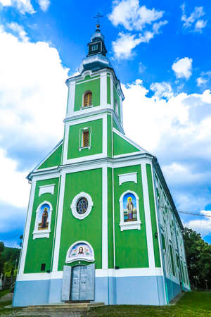 Mukachevo Saint Nicholas Monastery Main Cathedral Church Side Low Angle View