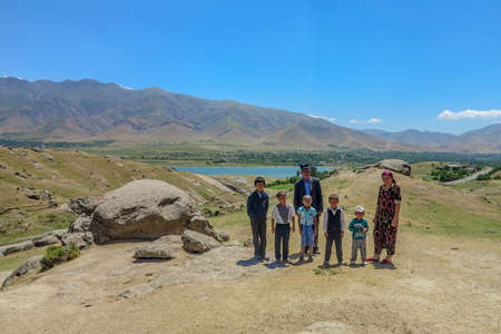 Samarkand to Shahrisabz Highway Breathtaking Landscape Viewpoint with Mountain Range Lake and Uzbek Family Editorial