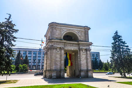 Chisinau Great National Assembly Square The Triumphal Arch Side View with Waving Moldavian Flag