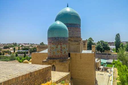 Samarkand Shah-i-Zinda Necropolis Ensemble Two Blue Tiles Cupolas Banco de Imagens