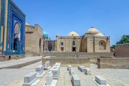 Samarkand Shah-i-Zinda Necropolis Ensemble Blue Tiles Ornament Facade Tombs and Cupolas