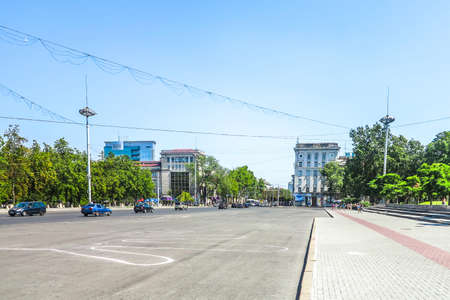 Chisinau Great National Assembly Square Busy Traffic Road with Cars