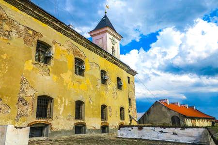 Mukachevo Palanok Castle Clock Tower Side View with Shabby Facade