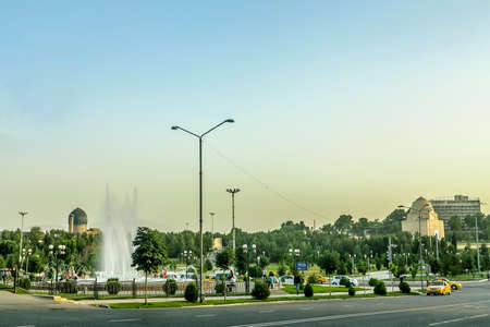 Samarkand Amir Temur Park Traffic with Gur-e Amir Mausoleum at Background