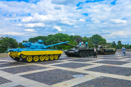 Kiev Navodnitsky Park Exhibition of Military Techniques and Weapons Tanks Colored in Ukrainian National Blue and Yellow Colors Editorial